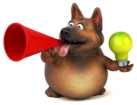 lustiger, schäferhund, -, 3d, illustration - 29690838