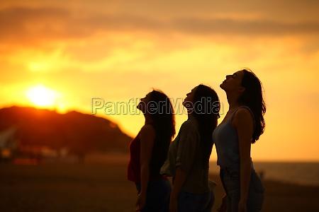 drei freunde atmen bei sonnenuntergang frische