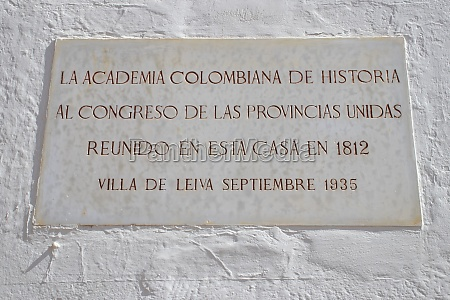 gedenktafel die kolumbianische akademie der geschichte