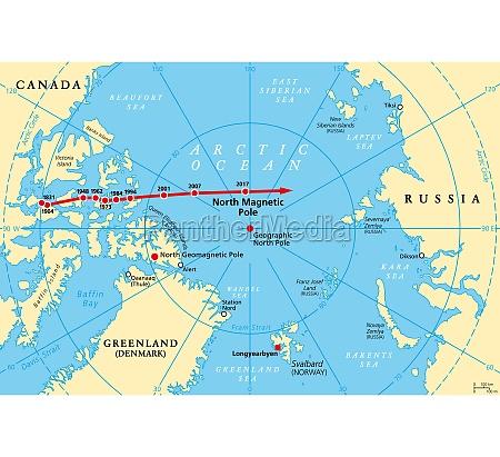 bewegung des nordmagnetpols magnetische nordpolpositionen politische