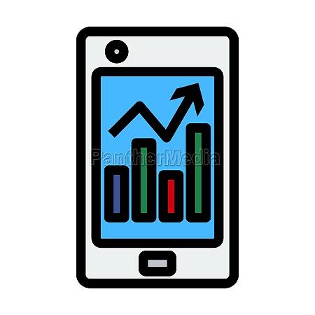 smartphone mit analytics diagramm symbol