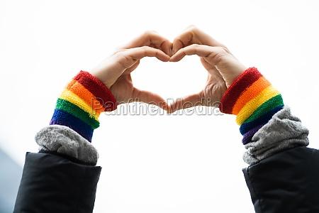 gay, pride, herz, liebe, armband, geste - 29700084