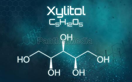 chemische formel von xylitol auf einem