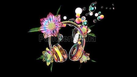3d-illustration, einer, abstrakten, kunst, von, kopfhörern - 29705507