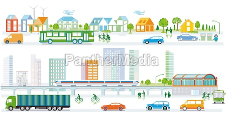 city, silhouette, with, traffic, and, people, - 29712473