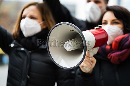rebellion, menschen, schreien, bei, protest - 29716795