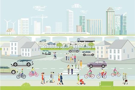 stadtsilhouette mit fussgaengern und strassenverkehr illustration