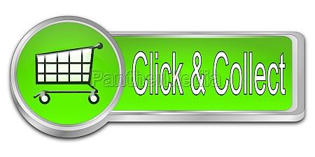 klicken und sammeln button gruen