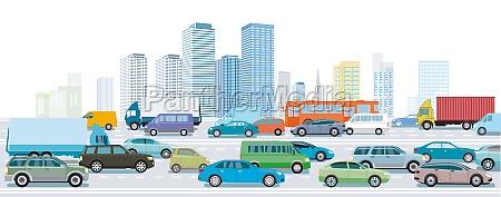 autobahn, vor, einer, großstadt-illustration - 29723448