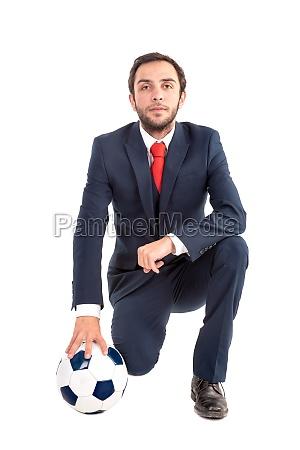 geschaeftsmann mit fussball