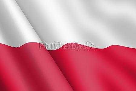 polen winkt flagge 3d illustration wind