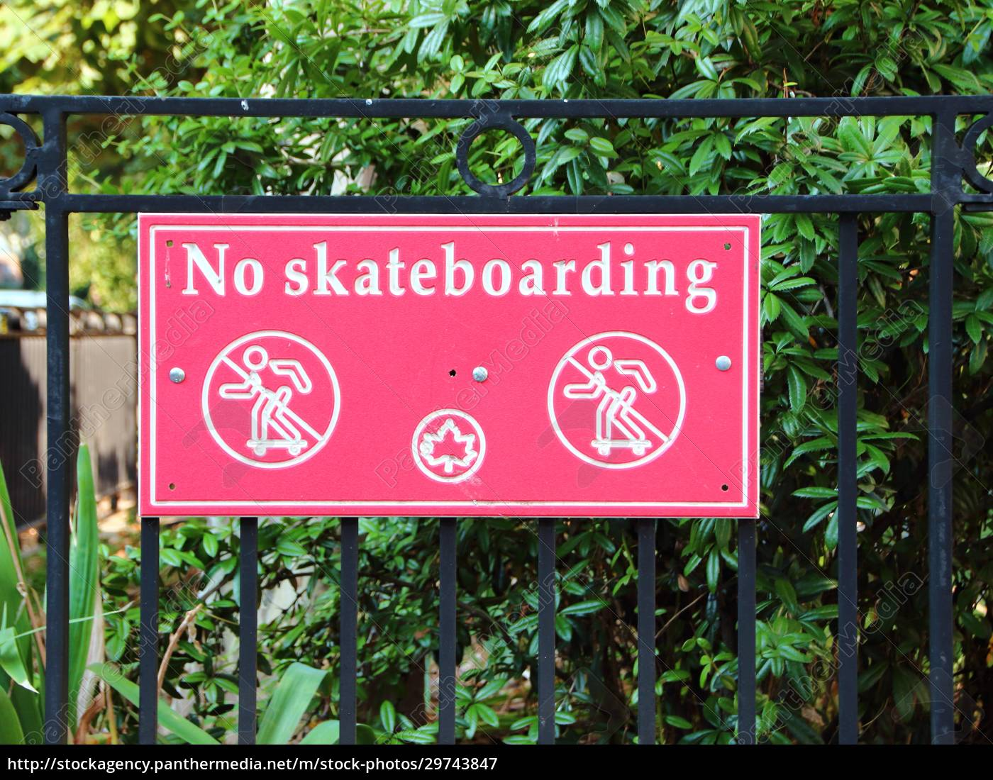 skateboarding, urban, red, metal, sign, with - 29743847