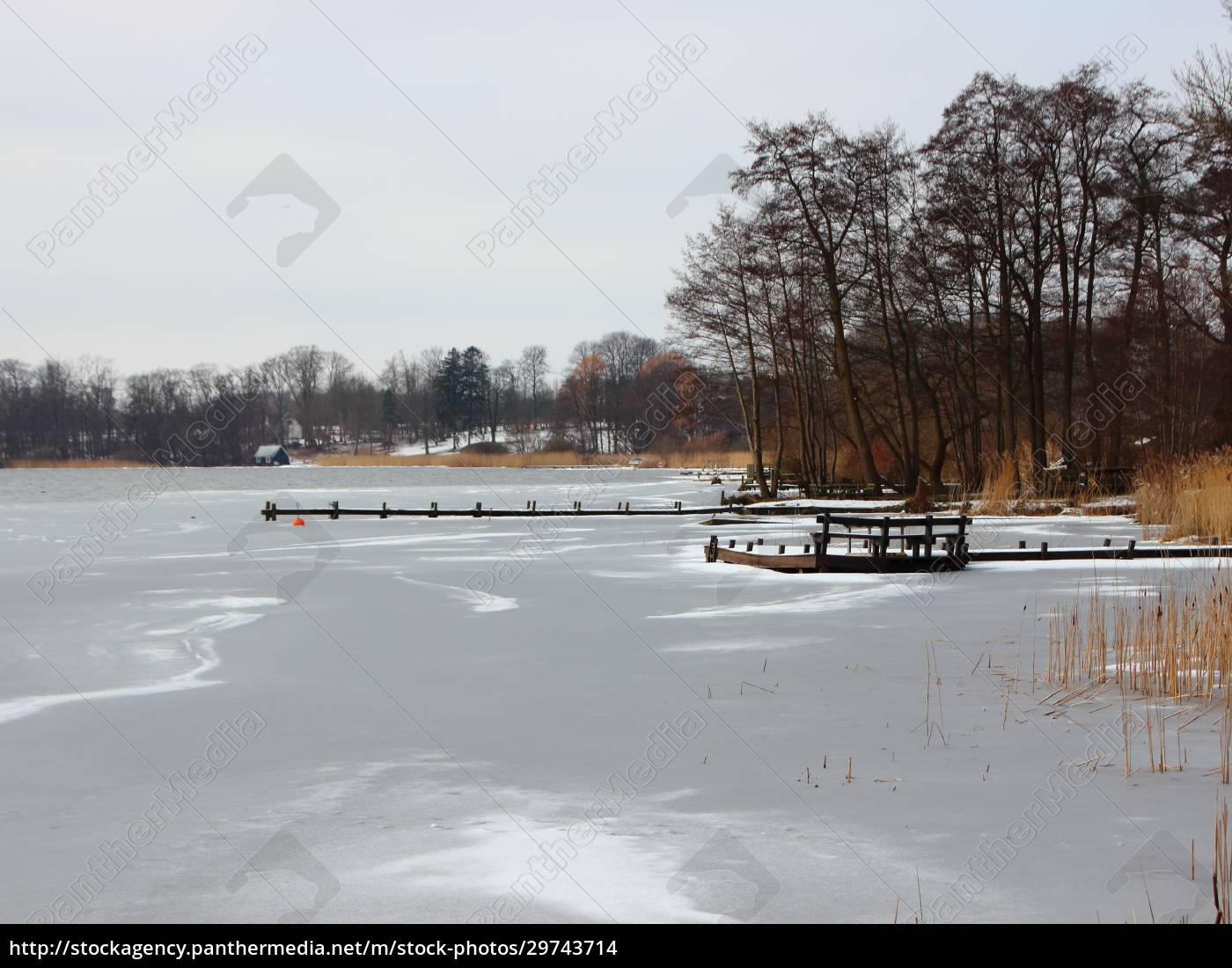 winter, lake, with, frozen, water, and - 29743714