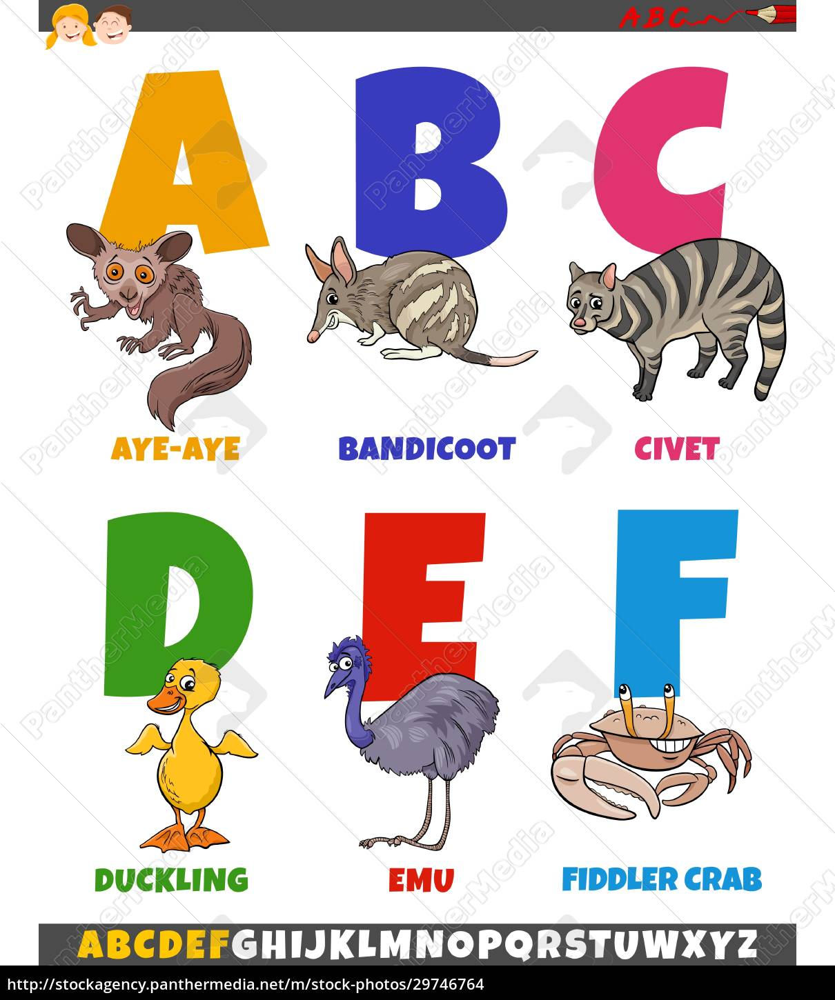 educational, cartoon, alphabet, collection, with, comic - 29746764