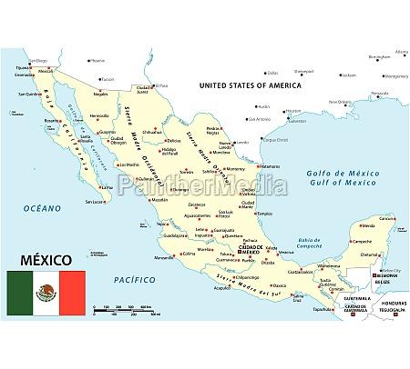 karte von mexiko mit nationalen grenzen