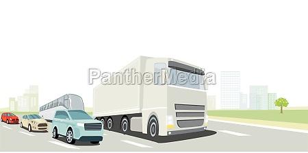 strassenverkehr mit lkw bus und pkw