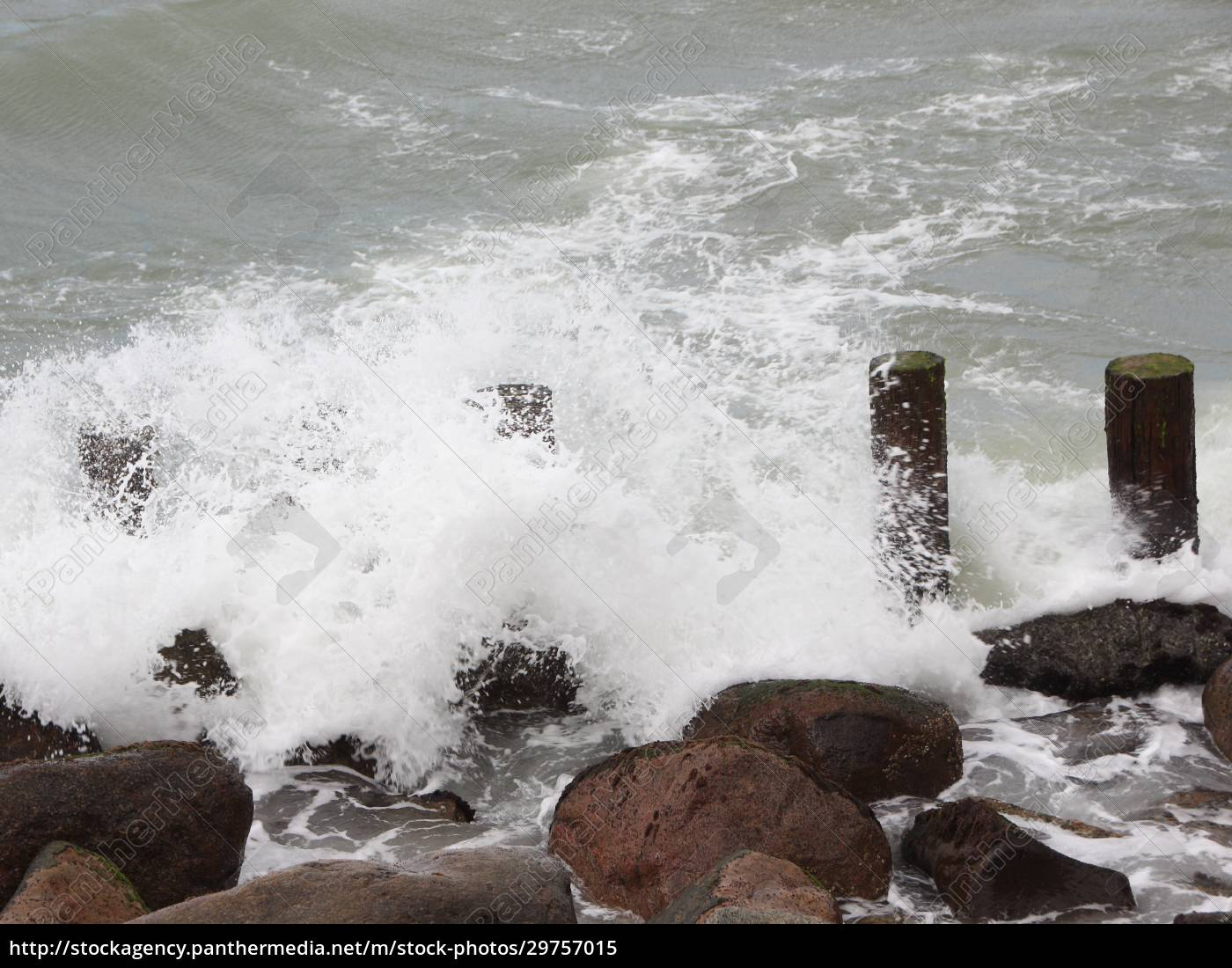 breakwater, poles, and, rocks, at, northern - 29757015