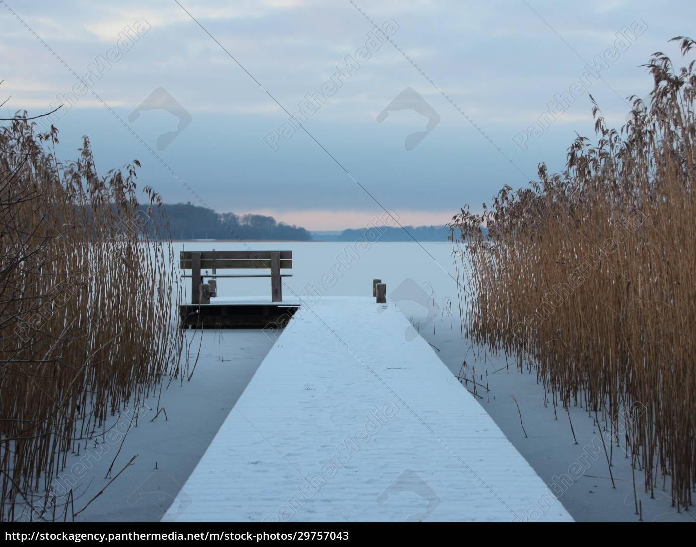 snow, covered, pier, at, lake, with - 29757043