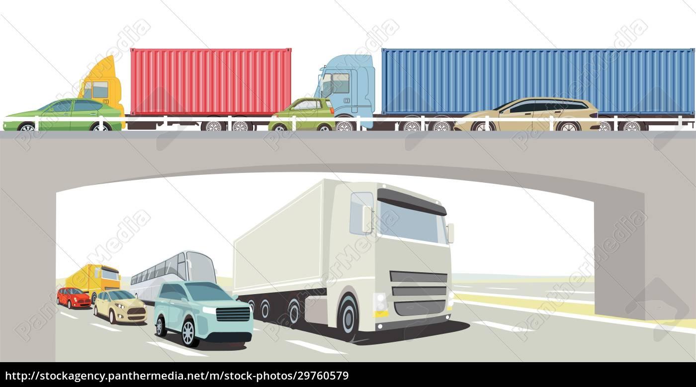 autobahnbrücke, mit, lkw, bus, und, pkw - 29760579