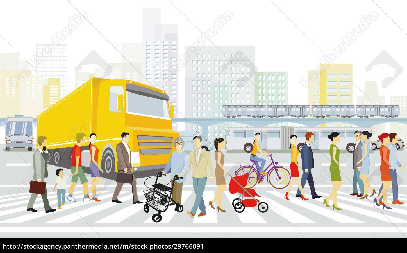 stadt, mit, straßenverkehr, häusern, und, fußgängern, am - 29766091