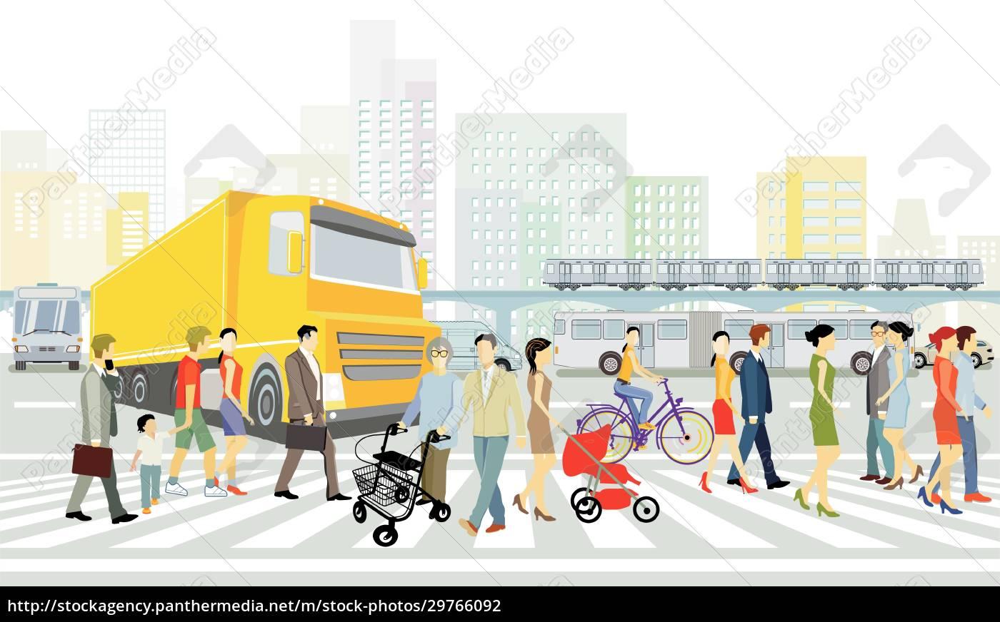 stadt, mit, straßenverkehr, häusern, und, fußgängern, am - 29766092