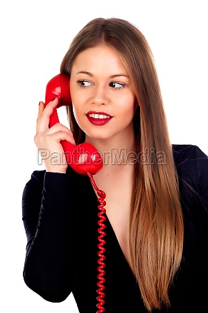 stilvolle frau mit einem roten telefon