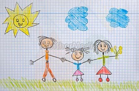 eine glueckliche familie kinderzeichnung