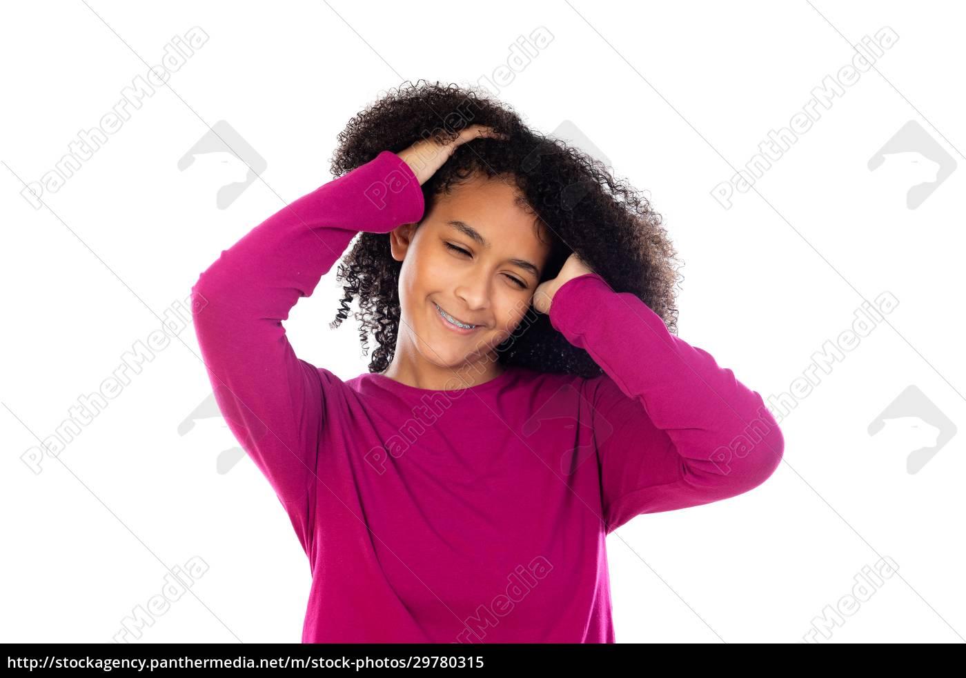 schöne, teenager-mädchen, mit, rosa, pullover - 29780315