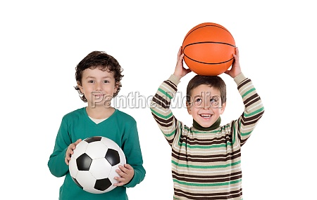 classmates, with, soccer, and, basket, balls - 29781198