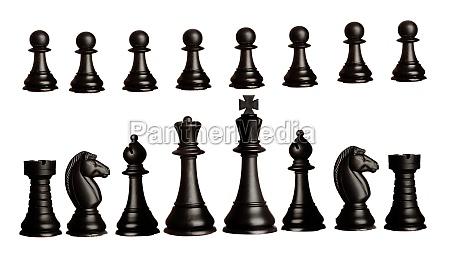 schwarze schachmaenner isoliert auf weiss