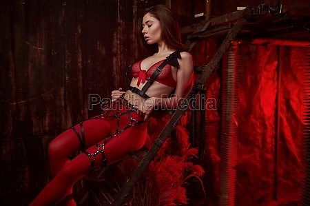 sexy, frau, posiert, in, roten, bdsm - 29787693