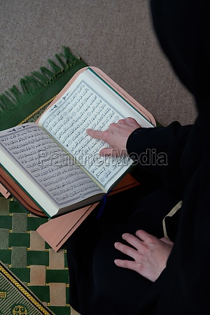 middle, eastern, woman, praying, and, reading - 29802213