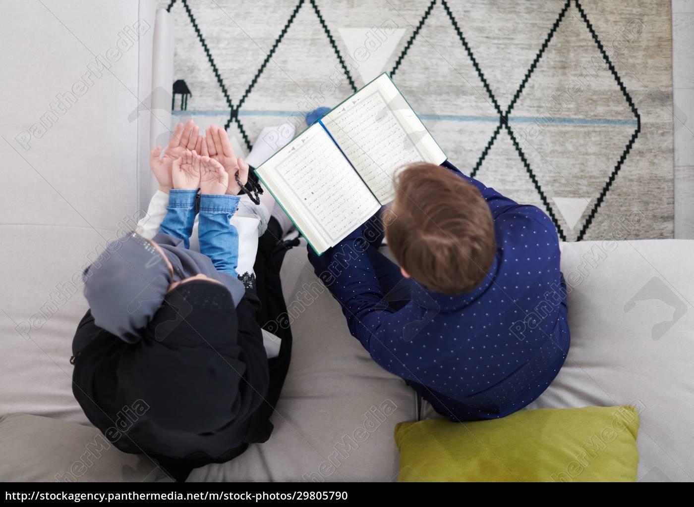muslim, family, reading, quran, and, praying - 29805790