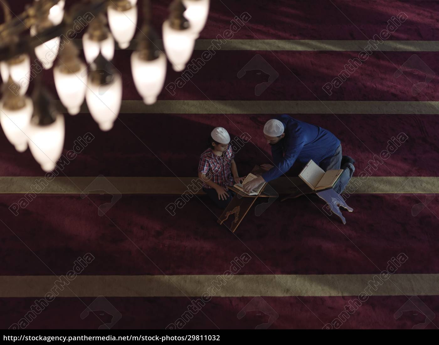 father, and, son, in, mosque, praying - 29811032