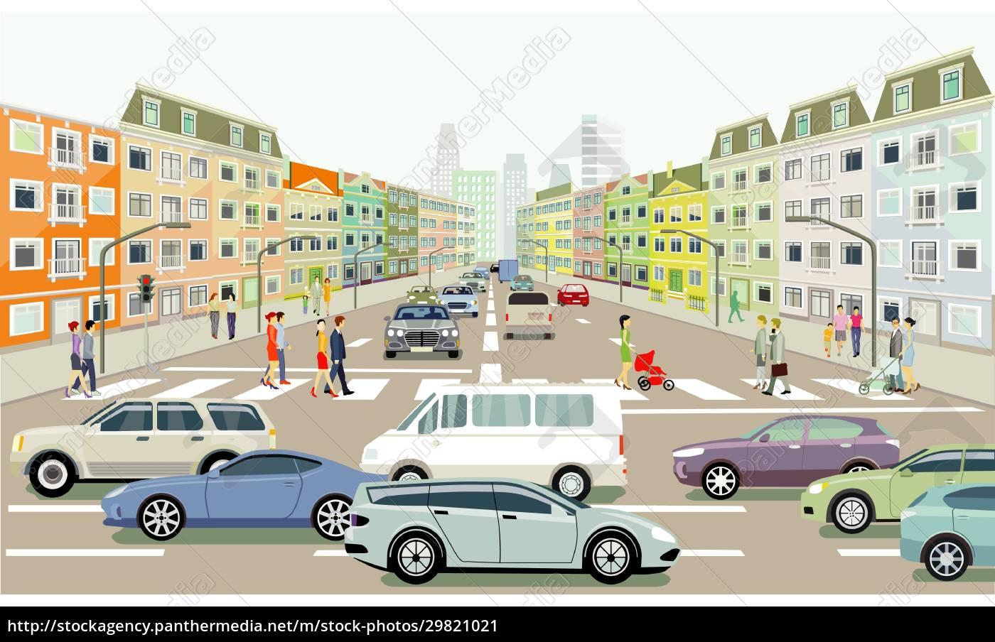 straßenverkehr, mit, personen, auf, dem, zebrastreifen, abbildung - 29821021