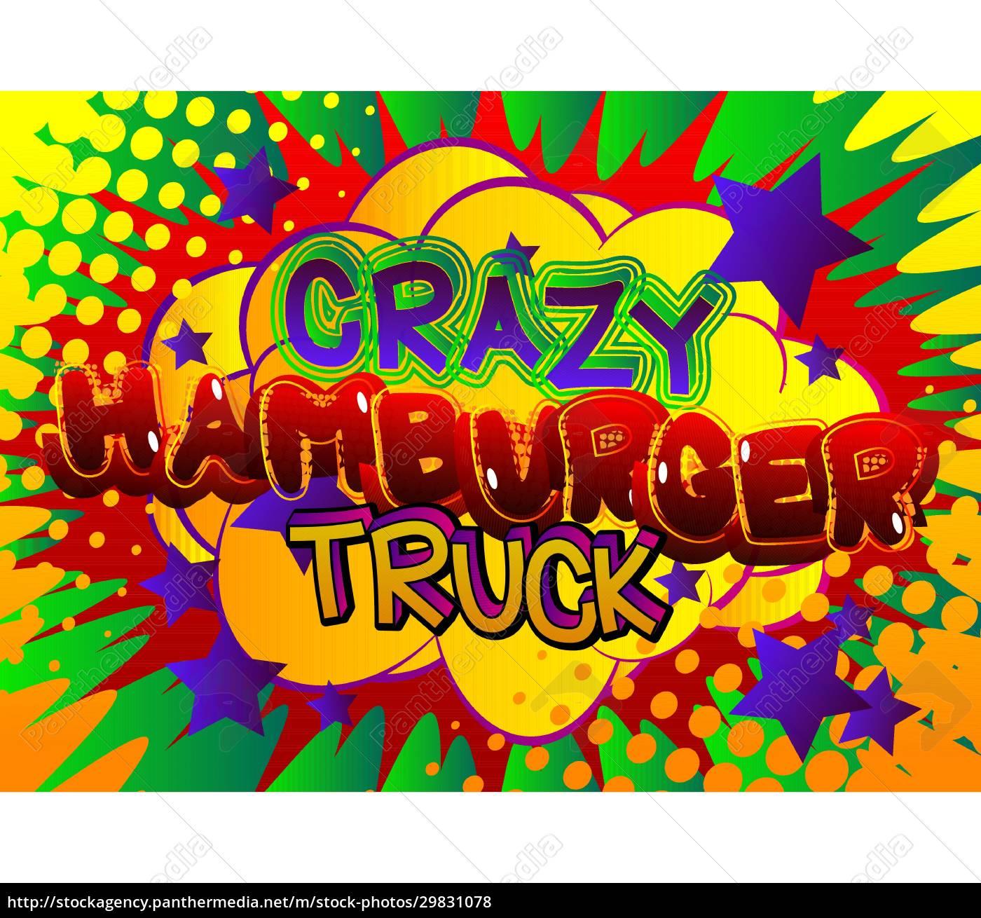 crazy, hamburger, truck, -, comic-buch-stil-text., - 29831078