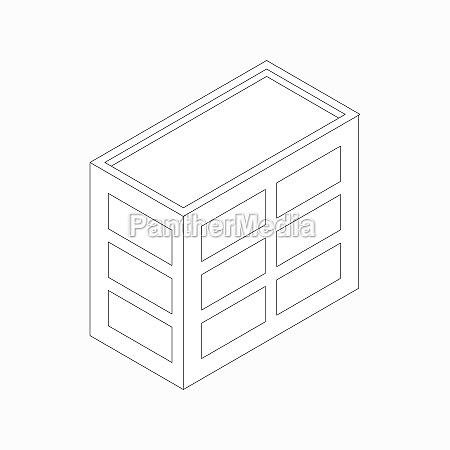 low rise buerogebaeude symbol isometrischen 3d