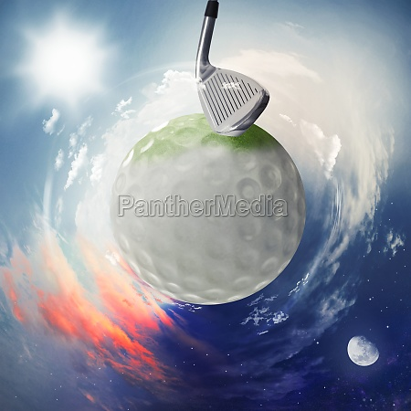 blick auf den golfball als planeten