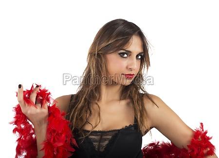 red, boa, girl - 29839243
