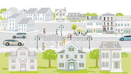 familien und menschen auf dem buergersteig
