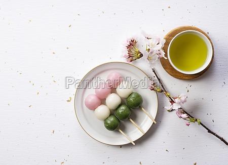 sanshoku, dango, and, green, tea., an - 29862451