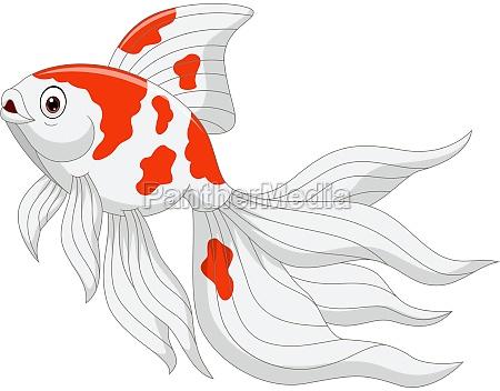 cartoon goldfisch auf weissem hintergrund