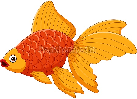 cartoon niedlichen goldfisch auf weissem hintergrund