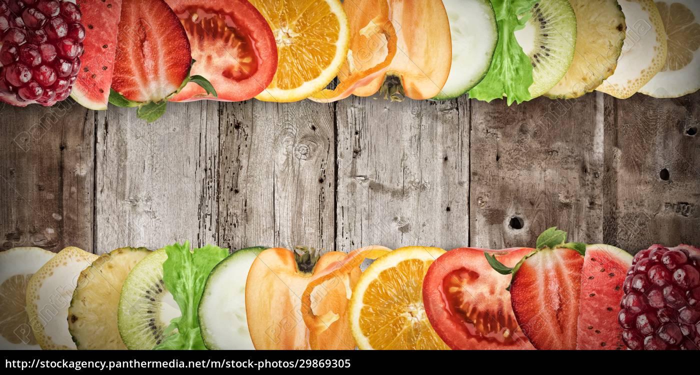 fruit, banner, on, wood, background - 29869305