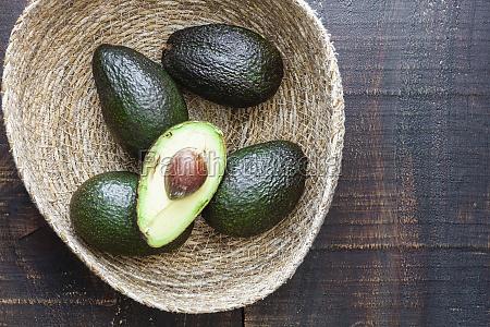schuessel mit frischen avocados