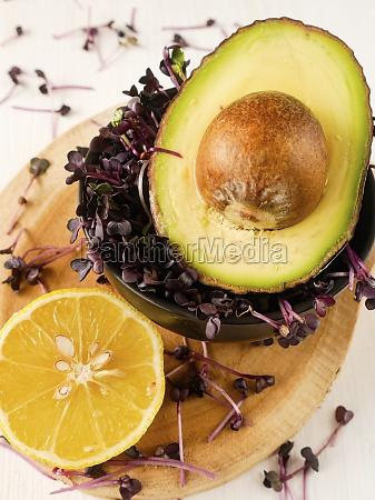 eine halbe avocado rote kresse und