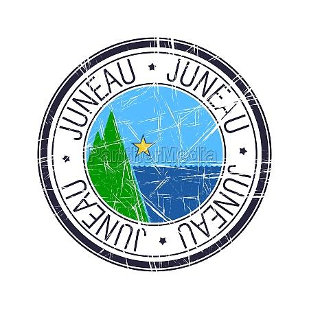 city, of, juneau, , alaska, vector, stamp - 29881916