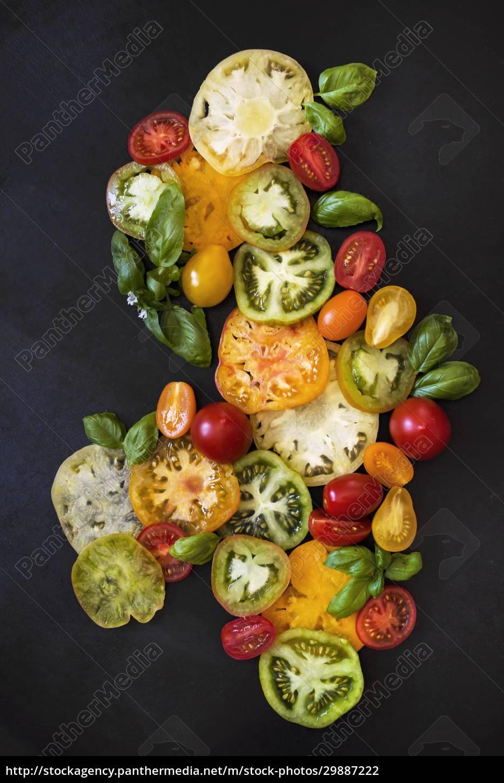 tomaten, und, basilikum, stillleben - 29887222