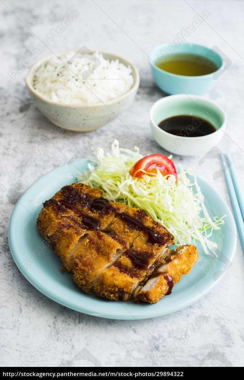 tonka, katsu, with, salad, and, rice - 29894322