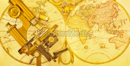old, brass, microscope, against, antique, world - 29903973